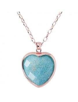 Collana Bronzallure cuore azzurro amazzonite