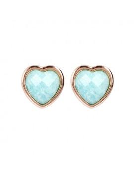 Orecchini Bronzallure cuore azzurro amazzonite
