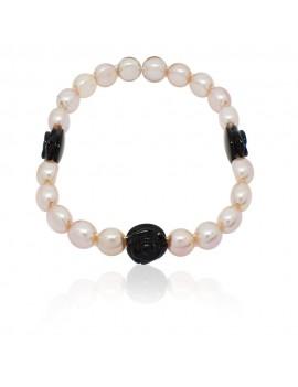 Bracciale Mimì perle e rose nere