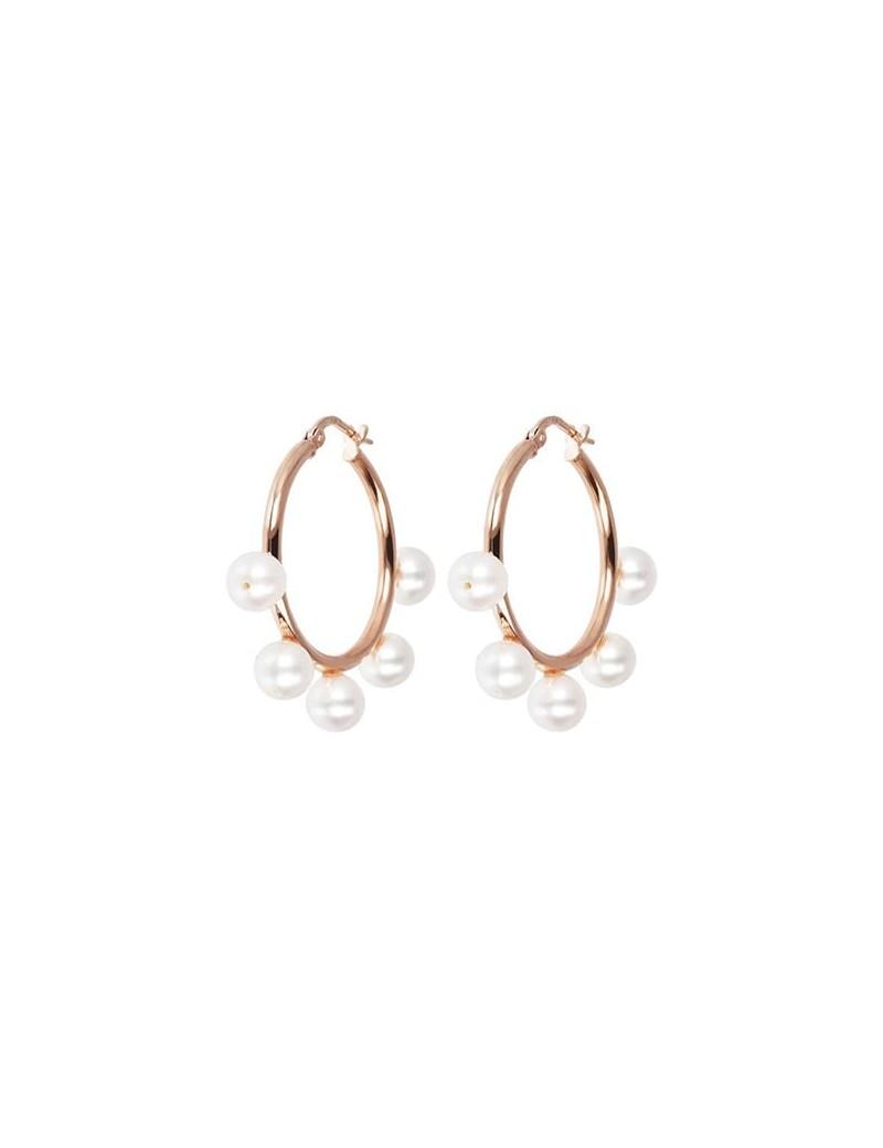 Orecchini Bronzallure cerchio perle