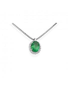 Collana DonnaOro smeraldo e diamanti