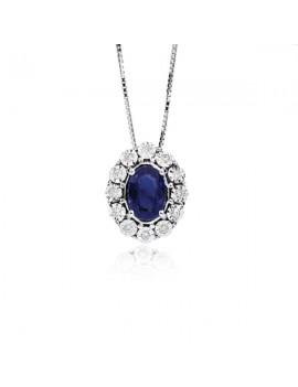 Collana DonnaOro zaffiro diamanti DCPZ5414.006