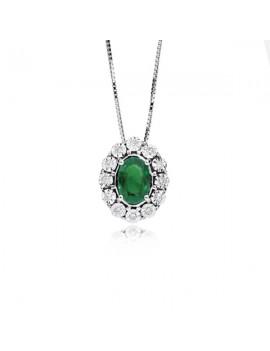 Collana DonnaOro smeraldo e diamanti DCPE5414.006