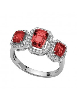 Anello Trilogy DonnaOro rubini e diamanti DCAR7804.035