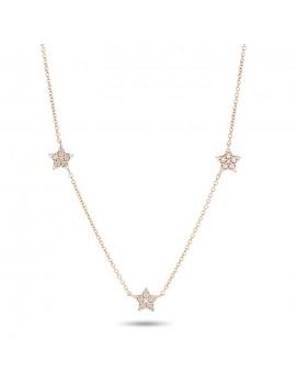 Collana stelle e diamanti in oro rosa