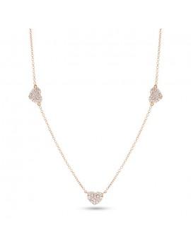 Collana oro rosa cuori e diamanti