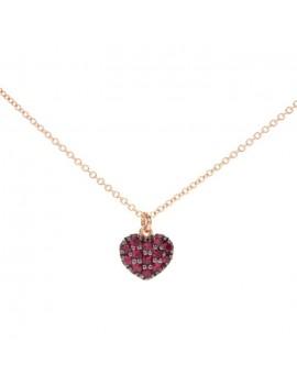 Collana cuore oro e rubini