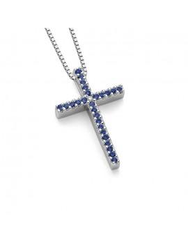 Croce DonnaOro zaffiri e oro bianco