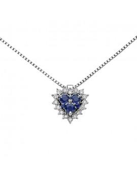 Collana DonnaOro cuore zaffiri e diamanti DHPZ9130.004