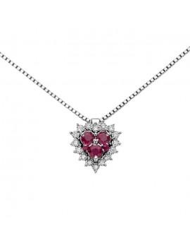 Collana DonnaOro cuore rubini e diamanti DHPR9130.004
