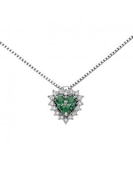 Collana DonnaOro cuore smeraldi e diamanti DHPE9130.004